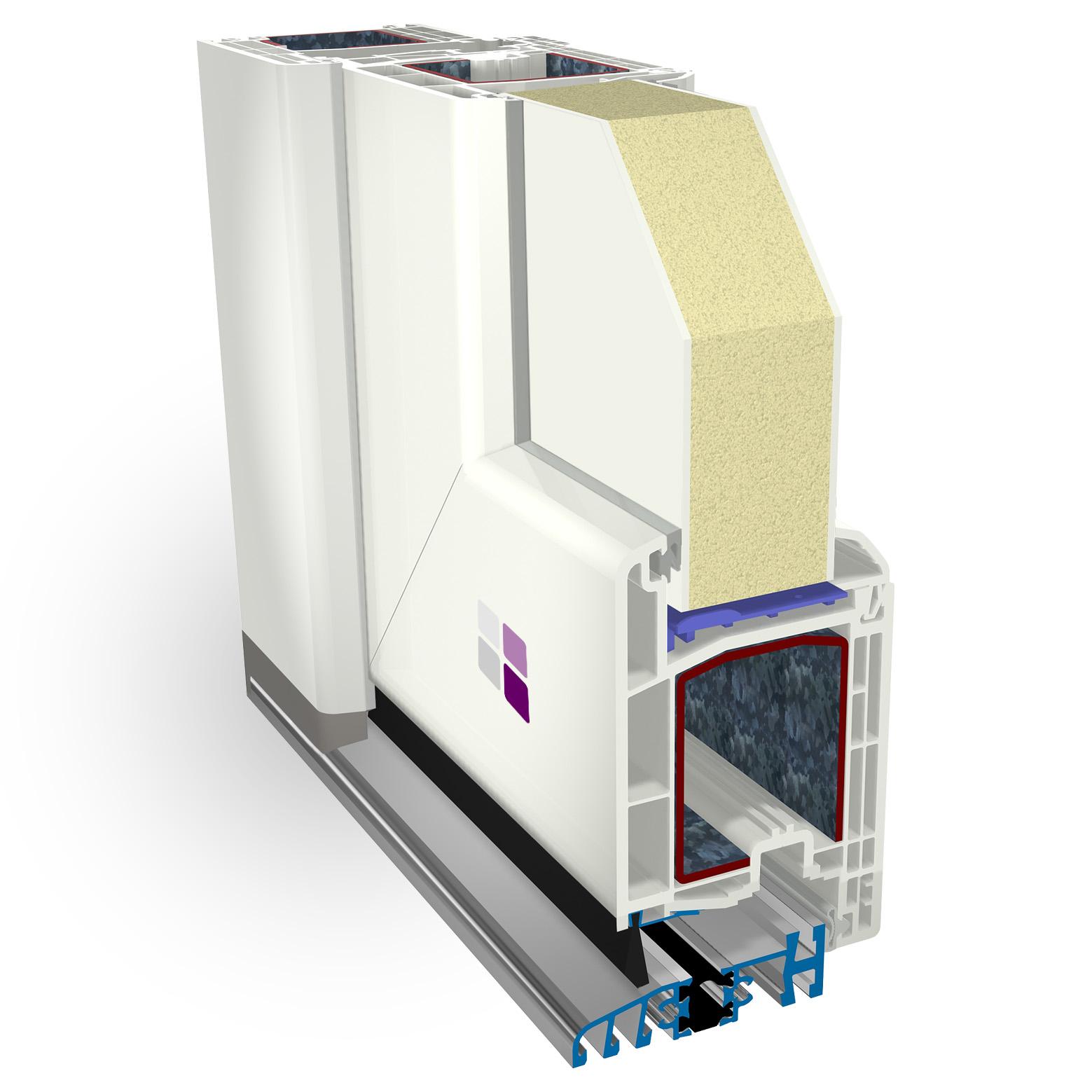Sección 3D de los componentes de la puerta de entrada cálida pvc.