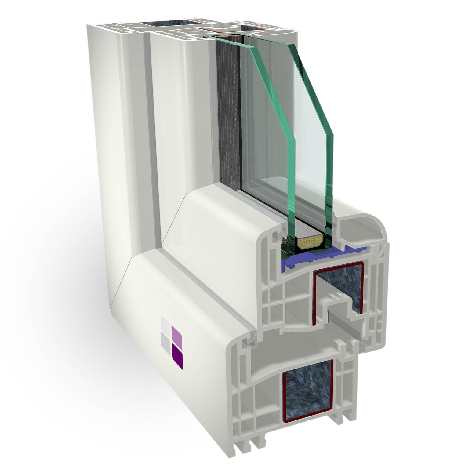 Sección 3D de los componentes de la ventana cálida pvc clásica. Eficiencia energética al mejor precio.