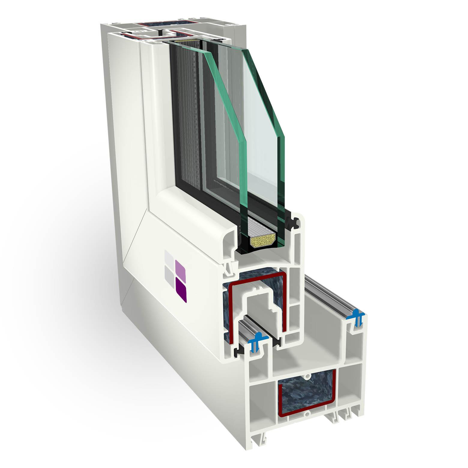Sección 3D de los componentes de la ventana cálida pvc corredera.