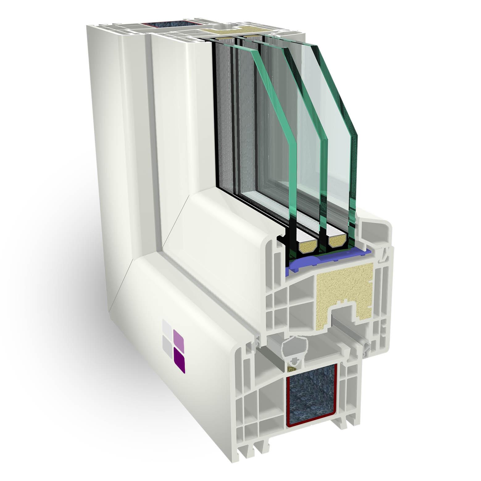 Sección 3D de los componentes de la ventana cálida pvc térmica.