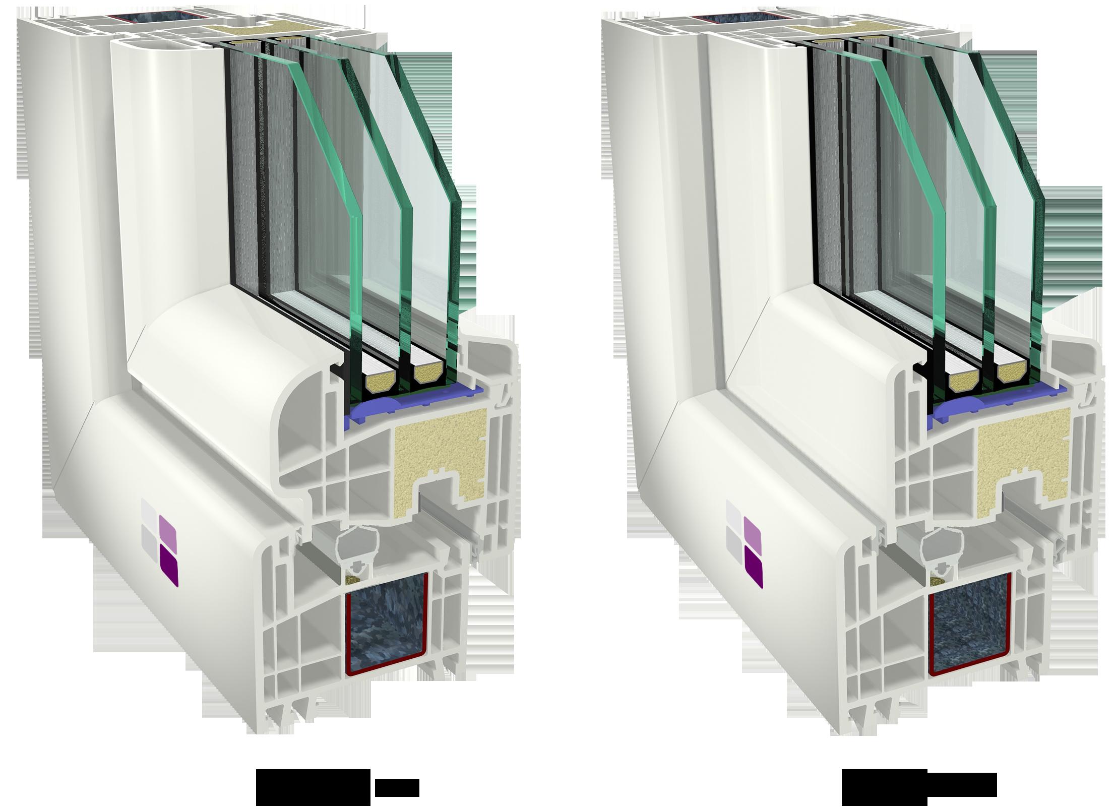 Ventana Válida PVC Térmica con hoja curva y hoja recta. Dos estilos diferentes: clásico u orientado al diseño.