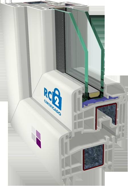 Ventana Cálida PVC Segura. Clase de Resistencia RC2. Certificado RC2.