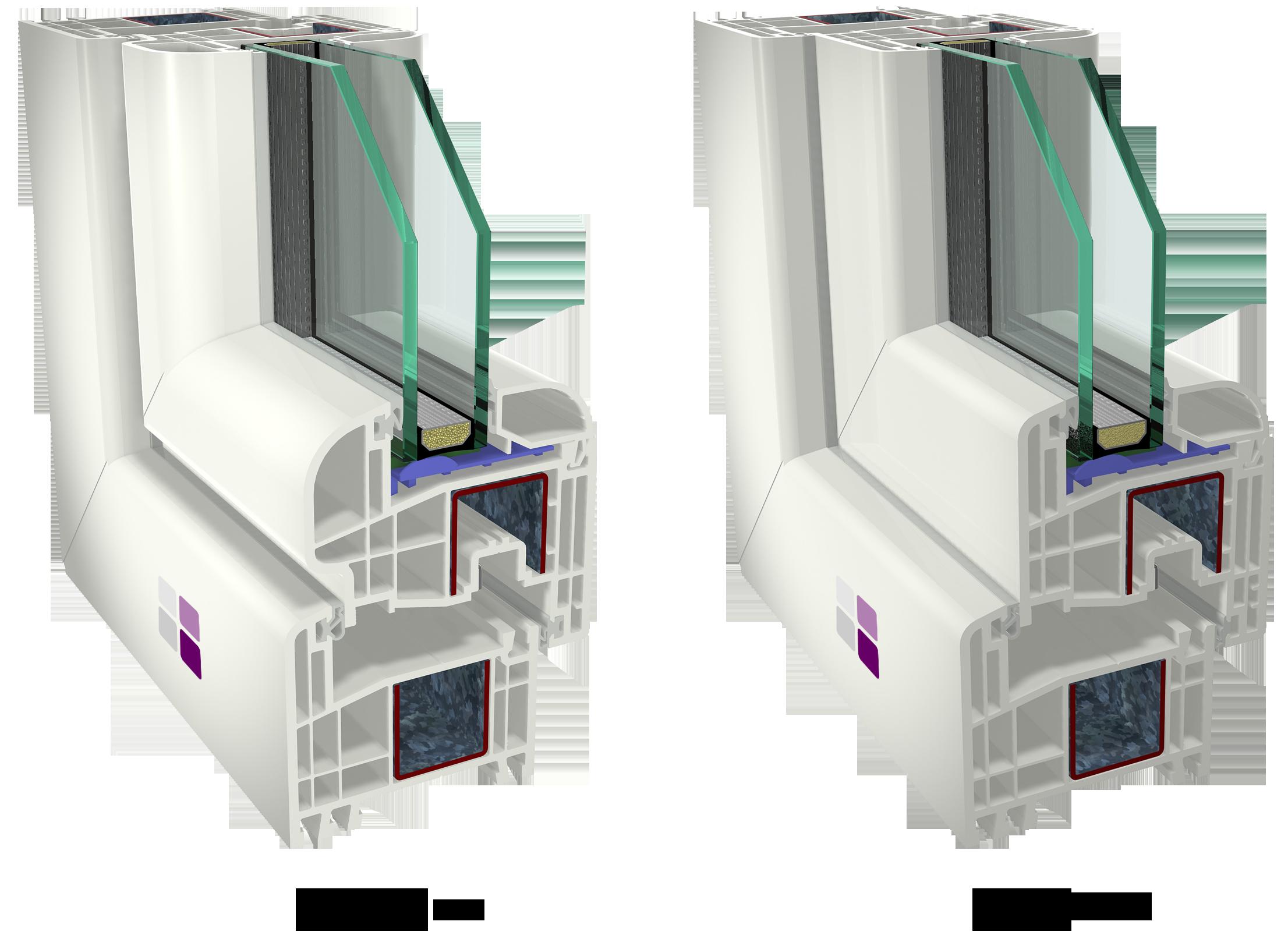Ventana Cálida PVC Clásica con hoja curva y hoja recta. Dos estilos diferentes: clásico u orientado al diseño.