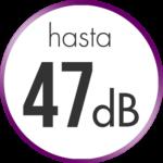 Reducción de ruido hasta 47 dB