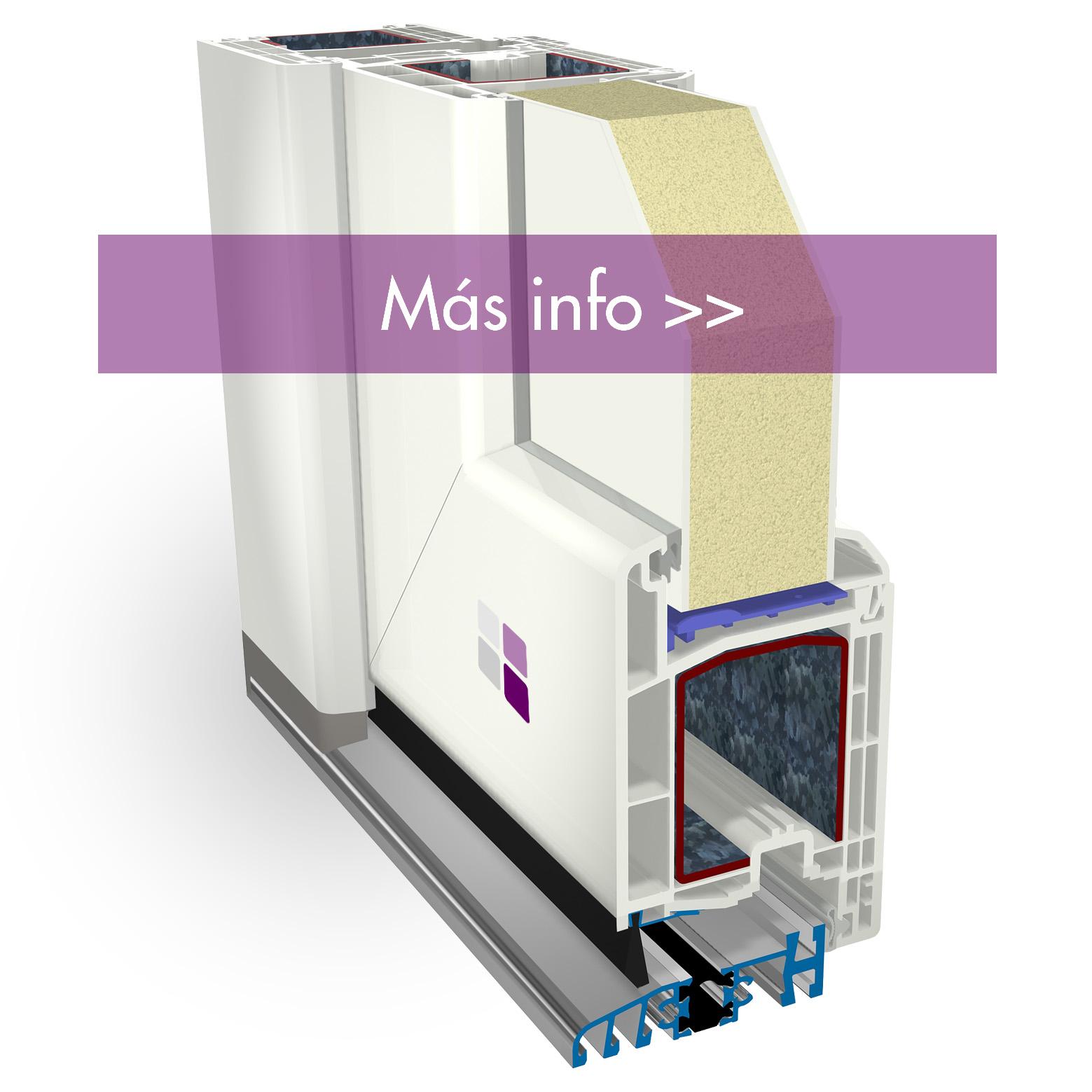 Sección 3D de los componentes de la puerta de entrada cálida pvc. Elegancia y seguridad.