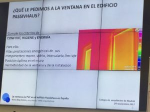 Los requisitos de la ventana en el estándar Passivhaus. Diapositiva Nuria Díaz.