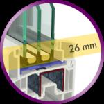 El vidrio se esconde 26 mm en la hoja
