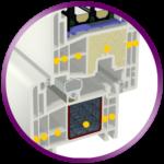 6 cámaras de aislamiento en marco y hoja