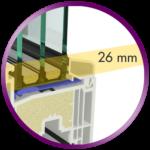 El vidrio se esconde 26 mm en la hoja de la venta