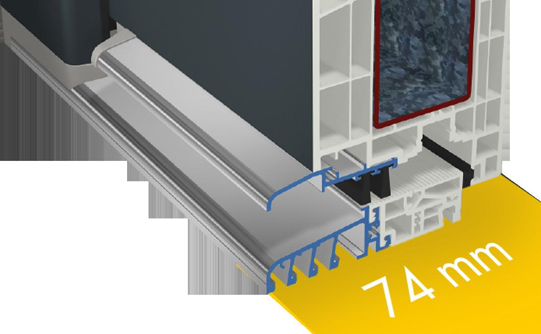 Umbral accesible para profundidad de construcción de 74 mm