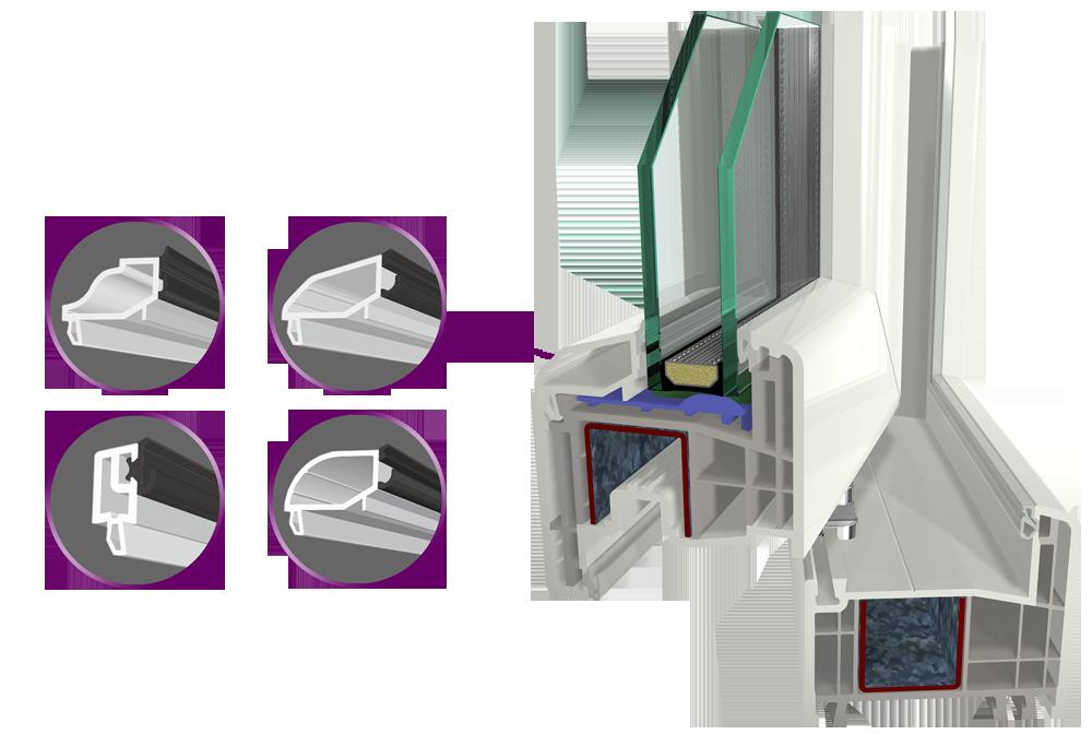 4 Tipos de junquillos disponibles: redondos, rectos, poligonales.