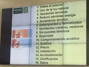 Los requisitos que le pedimos a una ventana fuera del estándar Passivhaus. Diapositiva de Luis A. Martínez.