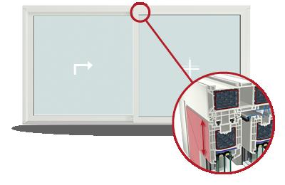 Detalle de anchura de hoja. Puerta Corredra Elevabe Cálida PVC 9000.