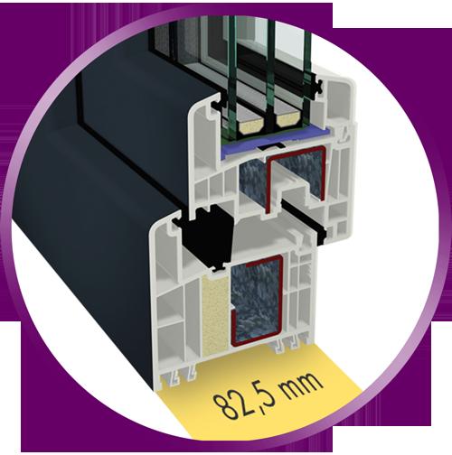 82,5 milímetros de profundidad de construcción