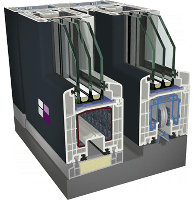 Sección 3D de los componentes de la puerta corredera elevable cálida pvc 9000.