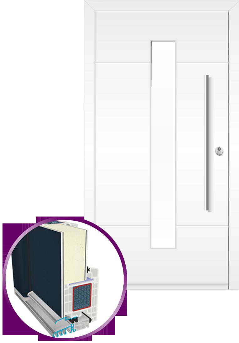 puerta de entrada 9000 estilo moderno. Hoja oculta.